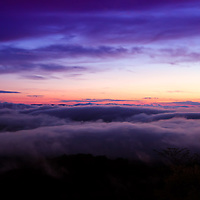 """""""Depth of Time""""<br /> <br /> Swiftly moving fog and low clouds move across the ridges and valleys in Shenandoah National Park at sunset!!<br /> <br /> The Blue Ridge Mountains by Rachel Cohen"""