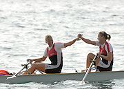 San Remo, ITALY,  Sat. W2X, Gold medal winners, from Hungary, Mohoc Torna Rgylet Club  the final . at the FISA Coastal World Championships. Saturday 18/10/2008.[Photo, Peter Spurrier/Intersport-images] Coastal Rowing Course: San Remo Beach, San Remo, ITALY