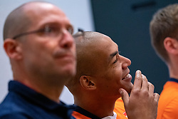 07-05-2019 NED: Press moment national volleyball team Men, Arnhem<br /> Roberto Piazza, the new national coach of the Dutch men's team, gives an overview of the group matches of the Golden European League, the OKT and the European Championship played in their own country.