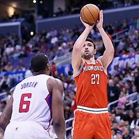 24 March 2014: Milwaukee Bucks center Zaza Pachulia (27) takes a jumpshot during the Los Angeles Clippers 106-98 victory over the Milwaukee Bucks at the Staples Center, Los Angeles, California, USA.