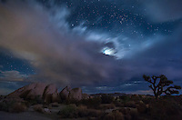 Distant flashes of lightning kept me awake much of the night at Joshua Tree National Park. Finally at 4am, I got up to try to photograph it. I never got any bolts because the lightning was too sporadic. In this image a flash of lightning behind me lit up the rocks, while a smaller storm moves under the moon and stars.<br />