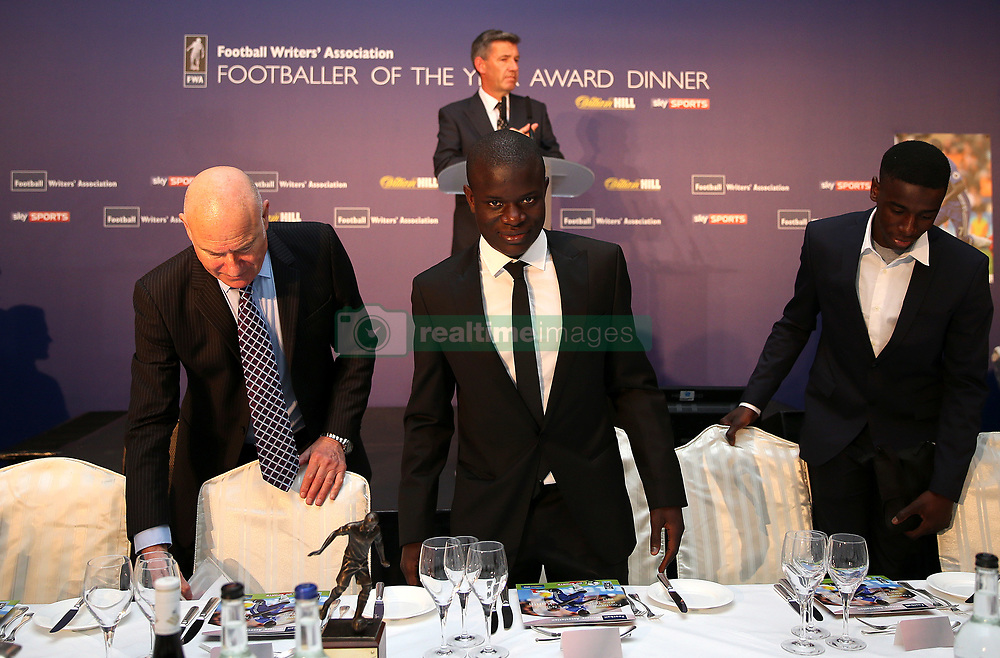 Chelsea's N'Golo Kante taking his seat during the FWA Footballer of the Year Dinner at The Landmark Hotel, London. PRESS ASSOCIATION Photo. Picture date: Thursday May 18, 2017. Photo credit should read: Steven Paston/PA Wire.