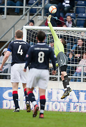 Partick Thistle's Paul Cairney scoring their first goal past keeper Michael McGovern'.half time, Falkirk v Partick Thistle, 10/3/2012..©Michael Schofield.