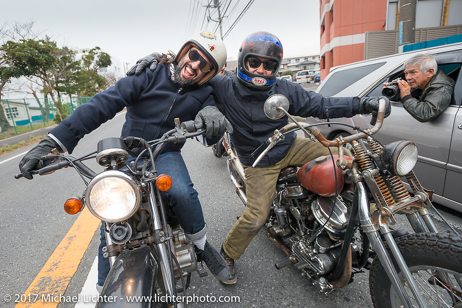 El Solitario's David Borras and Brat Style's Go Takamine on the Blue Groove shop ride from Kamakura to Miura Penninsula. Japan. Monday December 4, 2017. Photography ©2017 Michael Lichter.