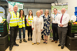 Staff and volunteers from FareShare, Kent pose of a picture with Mayor of Ashford Cllr Jessamy Blanford  and Kent High Shefiff Jane Ashton at the opening of FareShare's relocated warehouse in Ashford, Kent. Ashford, Kent, May 23 2019.