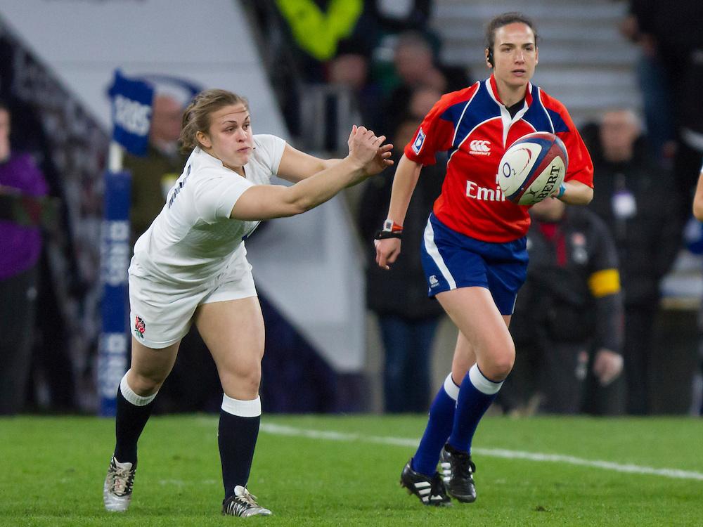 Fiona Davidson in action, England Women v France Women in the 6 Nations at Twickenham Stadium, Twickenham, England, on 21st March 2015