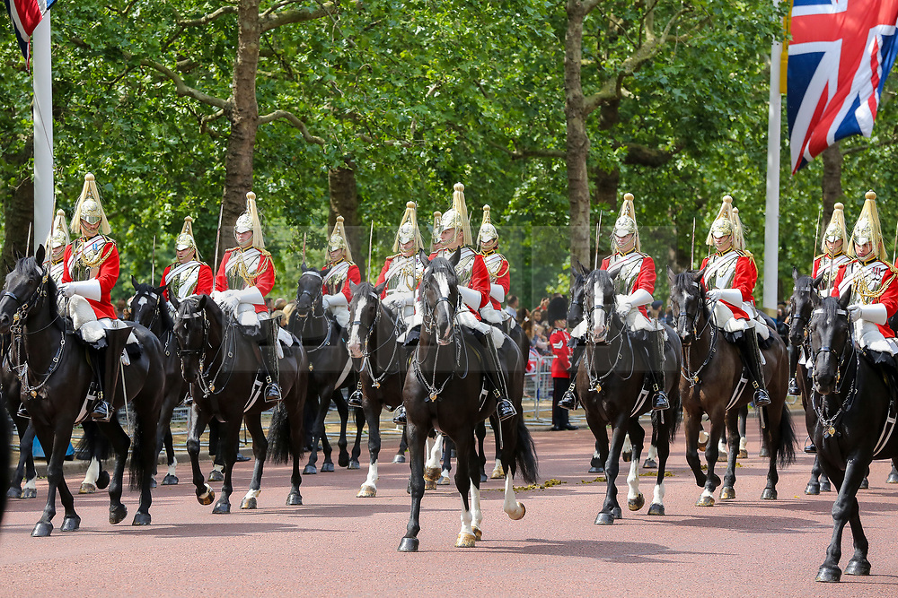 © Licensed to London News Pictures. 08/06/2019. London, UK. Coldstream Guards marching to Horse Guards Parade for the Trooping the Colour ceremony to marks the 93rd birthday of Queen Elizabeth II, Britain's longest reigning monarch. Photo credit: Dinendra Haria/LNP