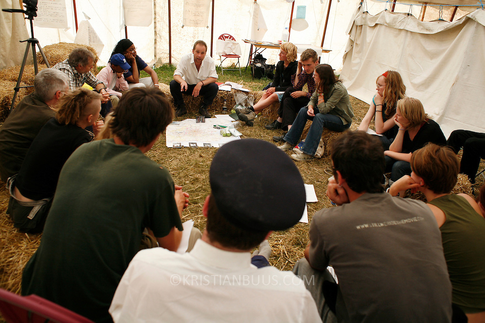 Climate Camp UK 2007<br /> Massive tents are being erected to accomodate thousands of activists converging on the field by Sipson the 14th-21.  The Climate Camp is a camp set up to highlight protests against a proposed third runway at Heathrow, destroying nearby villages and to put the spotlight on climate change issues.