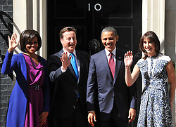 British Prime Minister David Cameron and his wife Samantha greet the US President Barack Obama and the first Lady Michelle on the steps of Number 10 Downing St, Tuesday May 24, 2011. Photo By Andrew Parsons/ i-Images