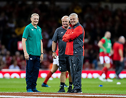 Head Coach Warren Gatland of Wales with Joe Schmidt during the pre match warm up<br /> <br /> Photographer Simon King/Replay Images<br /> <br /> Friendly - Wales v Ireland - Saturday 31st August 2019 - Principality Stadium - Cardiff<br /> <br /> World Copyright © Replay Images . All rights reserved. info@replayimages.co.uk - http://replayimages.co.uk