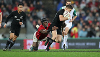Rugby Union - 2017 British & Irish Lions Tour of New Zealand - Second Test: New Zealand vs. British & Irish Lions<br /> <br /> Beauden Barrett of The All Blacks  and Maro Itoje of The British and Irish Lions at Westpac Stadium, Wellington.<br /> <br /> COLORSPORT/LYNNE CAMERON
