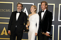 Joaquin Phoenix, Renée Zellweger and Brad Pitt at the 92nd Academy Awards - Press Room held at the Dolby Theatre in Hollywood, USA on February 9, 2020.