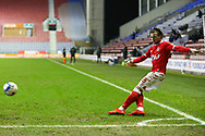Charlton Athletic midfielder Jake Forster-Caskey (8) takes the corner  during the EFL Sky Bet League 1 match between Wigan Athletic and Charlton Athletic at the DW Stadium, Wigan, England on 2 March 2021.