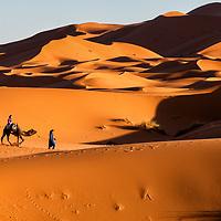Tourists exploring the Sahara Desert