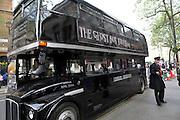 Black double decker bus, Ghost Bus tours, London, England