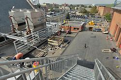 BI-JD-305; Brick; Brickwork; Bridgeport; Construction; Courthouse; Crew; CT-DPW; Elevation; GA 2; HVAC; Labor; North; Progress; Renovation; Roof; Roofing; Rooftop; Slate; Stairs; Steel; Steps; Support; Worker
