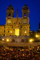 The Spanish Steps, Piazza di Spagna (Trinita dei Monti church in back), Rome, Italy