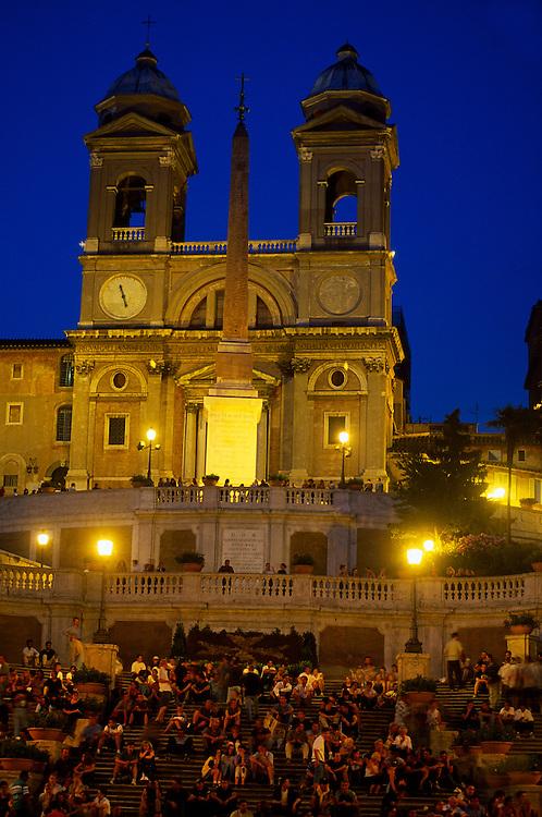The Spanish Steps, Piazza di Spagna (Trinita dei Monti church in back), Rome, Italy