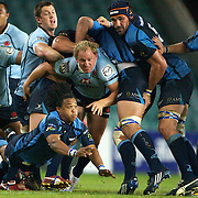 Heini Adams gets the ball away during the Super 14 match between the Waratahs and the Bulls at the Sydney Football Stadium, Sydney, Australia on April 11, 2009.  Photo Tim Clayton