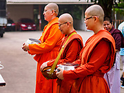 13 JANUARY 2019 - NAKHON PATHOM, THAILAND: Female monks from Wat Songdhammakalyani line up to receive alms on their morning alms rounds. The Sangha Supreme Council, Thailand's governing body of Buddhist monks, bans the ordination of female monks, but hundreds of Thai women have gone abroad, mostly to Sri Lanka and India, to be ordained. There are about 270 women monks in Thailand and about 250,000 male monks. There are 7 monks and 6 novices at Wat Songdhammakalyani in Nakhon Pathom. It was the first temple in Thailand to have female monks. The temple opened 60 years ago and has always been a temple of women monks. Women can be ordained as novices in Thailand, but to be ordained as a full monk would require the participation of 10 female monks and 10 male monks, and male monks in Thailand are barred from participating in women's ordination ceremonies.     PHOTO BY JACK KURTZ