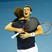 Jamie Murray celebrates with his brother Andy as GB win the doubles semi-final. Davis Cup at The Emirates Arena, Glasgow, UK. 19-09-15