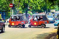 Java, Jakarta. Two Bajaj in Kemang Raya. An auto rickshaw is generally characterized by a sheet-metal body or open frame resting on three wheels.