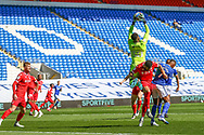 Nottingham Forest's Goalkeeper Brice Samba (30) claims the high ball during the EFL Sky Bet Championship match between Cardiff City and Nottingham Forest at the Cardiff City Stadium, Cardiff, Wales on 2 April 2021.