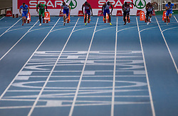Emanuele Di Gregorio of Italy, Francis Obikwelu of Portugal, Christophe Lemaitre of France, Jaysuma Saidy Ndure of Norway, Martial Mbandjock of Franc, Dwain Chambers of Great Britain, Mark Lewis-Francis of Great Britain and Simone Collio of Italy compete during the Mens 100m Final during day two of the 20th European Athletics Championships at the Olympic Stadium on July 28, 2010 in Barcelona, Spain. (Photo by Vid Ponikvar / Sportida)