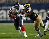 Houston running back Vernard Morency (34) brakes away form St. Louis Rams linebacker Jamal Brooks (55) for a first down during the first half at the Edward Jones Dome in St. Louis, Missouri, August 19, 2006.  The Texans defeated the Rams 27-20.