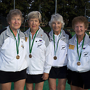 Queens Cup Bronze medalist, New Zealand, left to right, Jean Stevens, Jean Murray, Elaine Stephan, Janette Robb during the 2009 ITF Super-Seniors World Team and Individual Championships at Perth, Western Australia, between 2-15th November, 2009.
