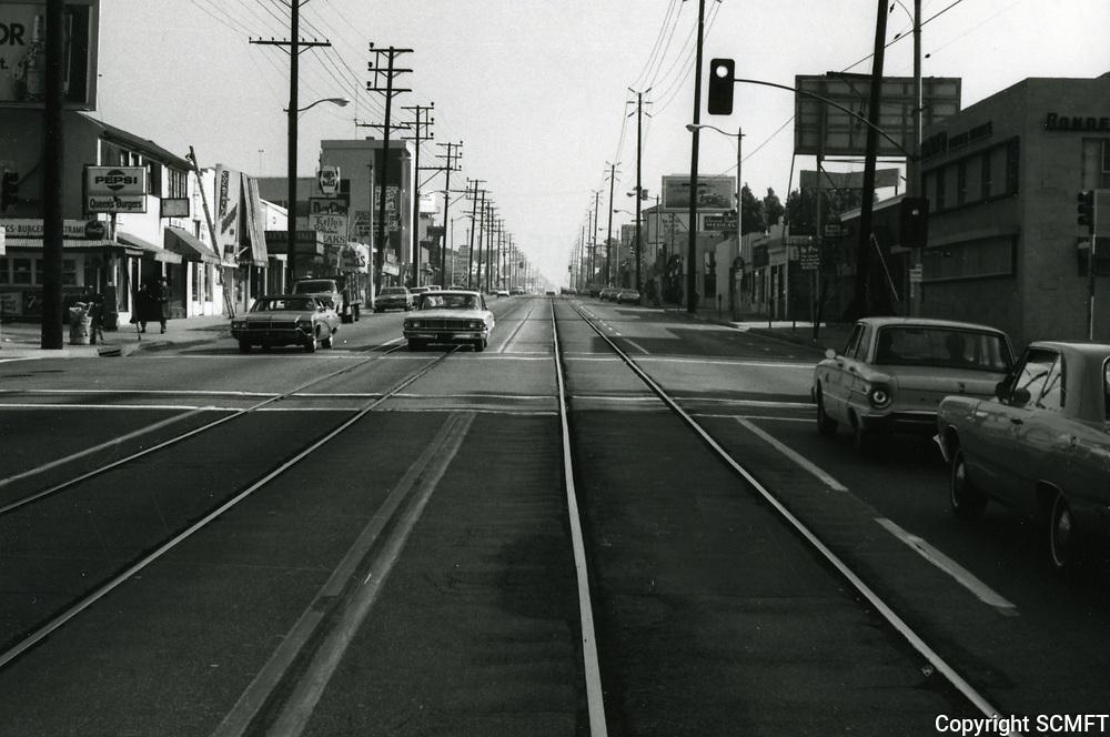 1972 Streetcar tracks on Santa Monica Blvd. at Kings Rd.