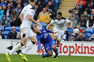Kenneth Zohore of Cardiff city is fouled by Curtis Davies of Derby County ® in the 2nd half which leads to the crowd calling for the Derby player to be sent off.  EFL Skybet championship match, Cardiff city v Derby County at the Cardiff city stadium in Cardiff, South Wales on Saturday 30th September 2017.<br /> pic by Andrew Orchard, Andrew Orchard sports photography.