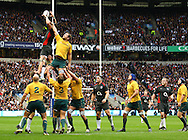 Tom Palmer of England takes a lineout from Rocky Chisholm during the Investec series international between England and Australia at Twickenham, London, on Saturday 13th November 2010. (Photo by Andrew Tobin/SLIK images)