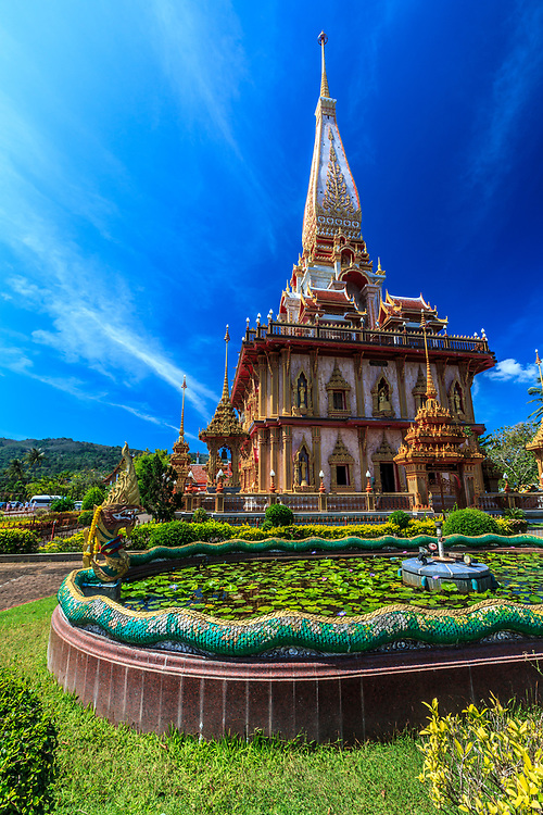 Wat Chalong temple in Phuket, Thailand. Wat Chalong is dedicated to two highly revered monks, Luang Pho Chaem and Luang Pho Chuang, who helped injured tin miners rebellion in 1876 on both sides.