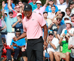 September 20, 2018 - Atlanta, GA, USA - Tiger Woods and the gallery react as he sinks his birdie putt on the 18th green to finish 5-under par during the first round of the Tour Championship on Thursday, Sept. 20, 2018, in Atlanta, Ga. (Credit Image: © Curtis Compton/Atlanta Journal-Constitution/TNS via ZUMA Wire)