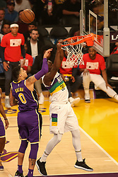 February 27, 2019 - Los Angeles, CA, U.S. - LOS ANGELES, CA - FEBRUARY 27: New Orleans Pelicans Center Julius Randle (30) misses a dunk during the first half of the New Orleans Pelicans versus Los Angeles Lakers game on February 27, 2019, at Staples Center in Los Angeles, CA. (Photo by Icon Sportswire) (Credit Image: © Icon Sportswire/Icon SMI via ZUMA Press)