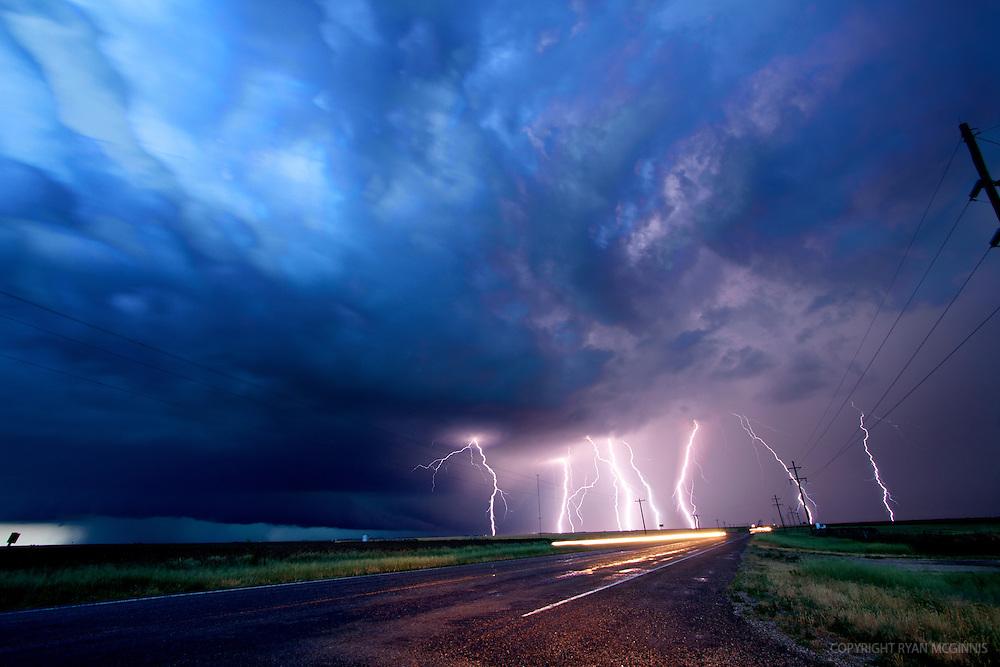 Lightning under a supercell in Oklahoma, June 12, 2010.