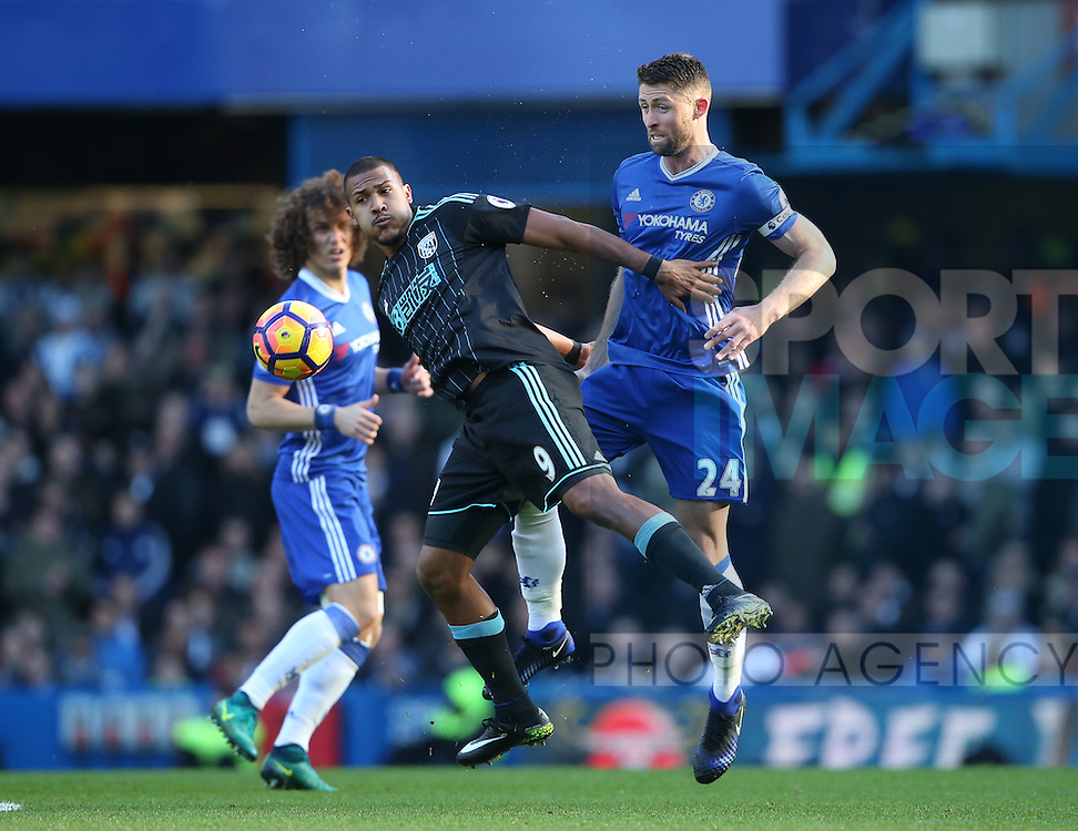 Chelsea's Gary Cahill tussles with WBA's Salomon Rondon during the Premier League match at Stamford Bridge Stadium, London. Picture date December 11th, 2016 Pic David Klein/Sportimage