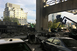 Deadpool 2 production comes to a halt pending investigation into Fatality on set. The Deadpool set had been constructed downtown for some dramatic stunt scenes under a bridge in Vancouver for the week. The set was deserted the day after the fatality involving a stunt driver on set in Vancouver. 15 Aug 2017 Pictured: Deadpool 2. Photo credit: MEGA TheMegaAgency.com +1 888 505 6342