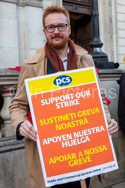 Lloyd Russell-Moyle MP joins workers of Interserve, the cleaning contractors for the Foreign and Commonwealth Office FCO who are striking for better working conditions and union recognition on the 11th of February 2020 in Westminster, London, United Kingdom.