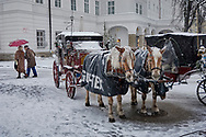 SERIES - UNRELIABLE-SIGHTINGS by PAUL WILLIAMS-  Saltzburgh in snow at Christmas Unreliable Sightings - Saltzburg is a selective colour photography series by photographer Paul Williams  of tourist horse and carriage taken in the snow in a Saltzburg square in 2008 .