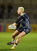 Sale Sharks stand-off James O'Connor passes during the The Aviva Premiership match Sale Sharks -V- Exeter Chiefs  at The AJ Bell Stadium, Salford, Greater Manchester, England on Friday, October 27, 2017. (Steve Flynn/Image of Sport)