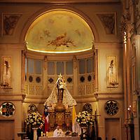 South America, Chile, Santiago. Metropolitan Cathdral of Santiago altar.