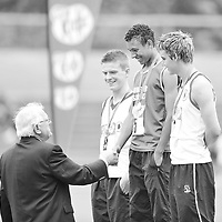 28 June 2008; Winner of the Boys 1500m Steeplechase Cathal O'Connor, St. Caimins Community School, Shannon, Co. Clare, is congratulated by President of the Irish Schools Athletics Association Michael Hunt as second place Pauric McLaughlin, St. Eunan's College, Letterkenny, Co. Donegal, right, and Daniel Crangle, St. Malachy's Belfast, Co. Antrim, watch on at the KitKat Tailteann inter provincial track & field final. Morton Stadium, Santry, Dublin. Picture credit: Stephen McCarthy / SPORTSFILE *** NO REPRODUCTION FEE ***