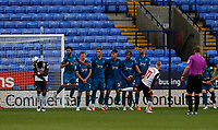 Football - 2020 / 2021 Sky Beat League Two - Bolton Wanderers vs Grimsby Town<br /> <br /> Sean Scannell of Grimsby Town swings his freee kick past the Grimsby Town wall, at University of Bolton Stadium.<br /> <br /> COLORSPORT/ALAN MARTIN