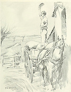 Stood tiptoe on his loaded sack from the book  The sport of our ancestors; being a collection of prose and verse setting forth the sport of fox-hunting as they knew it; by baron Willoughby de Broke, Richard Greville Verney, 1869-1923; and illustrated by Armour, G. D. (George Denholm),  Published in London by Constable and co. ltd. in 1921