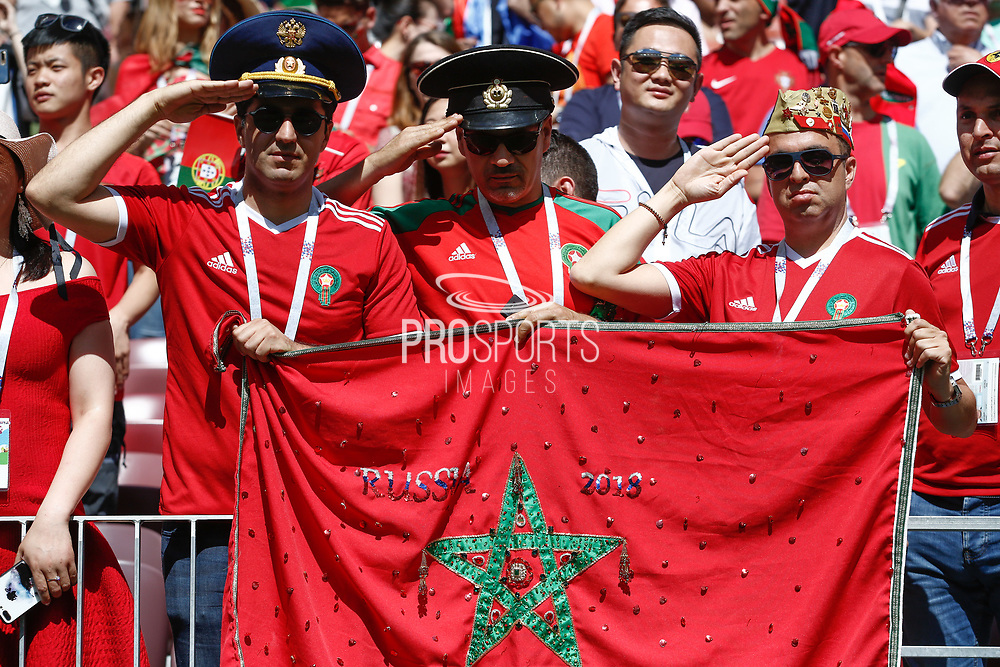 Fans of Morocco during the 2018 FIFA World Cup Russia, Group B football match between Portugal and Morocco on June 20, 2018 at Luzhniki stadium in Moscow, Russia - Photo Thiago Bernardes / FramePhoto / ProSportsImages / DPPI