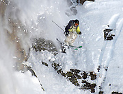 """PRICE CHAMBERS / NEWS&GUIDE<br /> Tony Seibert from Vail drops out of """"The Fingers"""" atop Jackson Hole Mountain Resort's Casper Bowl on Friday during his first run in the Subaru Freeskiing World Tour Qualifier. Seibert scored a 38.70, earning him a spot in the following day's competition."""