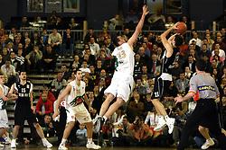 Jasmin Hukic blocks Uros Tripkovic during second semi-final match of Basketball NLB League at Final four tournament between KK Partizan Igokea, Beograd, Serbia and Union Olimpija, Ljubljana, Slovenia, on April 25, 2008, in Arena Tivoli in Ljubljana. Match was won by Partizan 94:90. (Photo by Vid Ponikvar / Sportal Images)