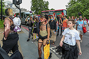 London, Britain, June 26, 2021 — Transgender people and their supporters gather by Wellington Arch in London's 3rd Trans Pride protest march for equality on Saturday, June 26, 2021, in London, England. Protesters demand legal recognition for non-binary people, an end to non-consensual surgeries on intersex people, and progressive reform of the UK's Gender Recognition Act the law that governs the way adult trans men and women gain legal recognition of their gender. (VX Photo/ Vudi Xhymshiti)